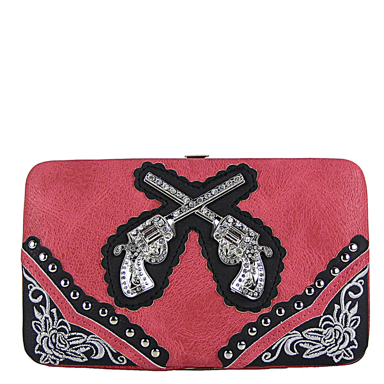 HOT PINK WESTERN STITCHED RHINESTONE PISTOLS LOOK FLAT THICK WALLET FW2-1234HPK