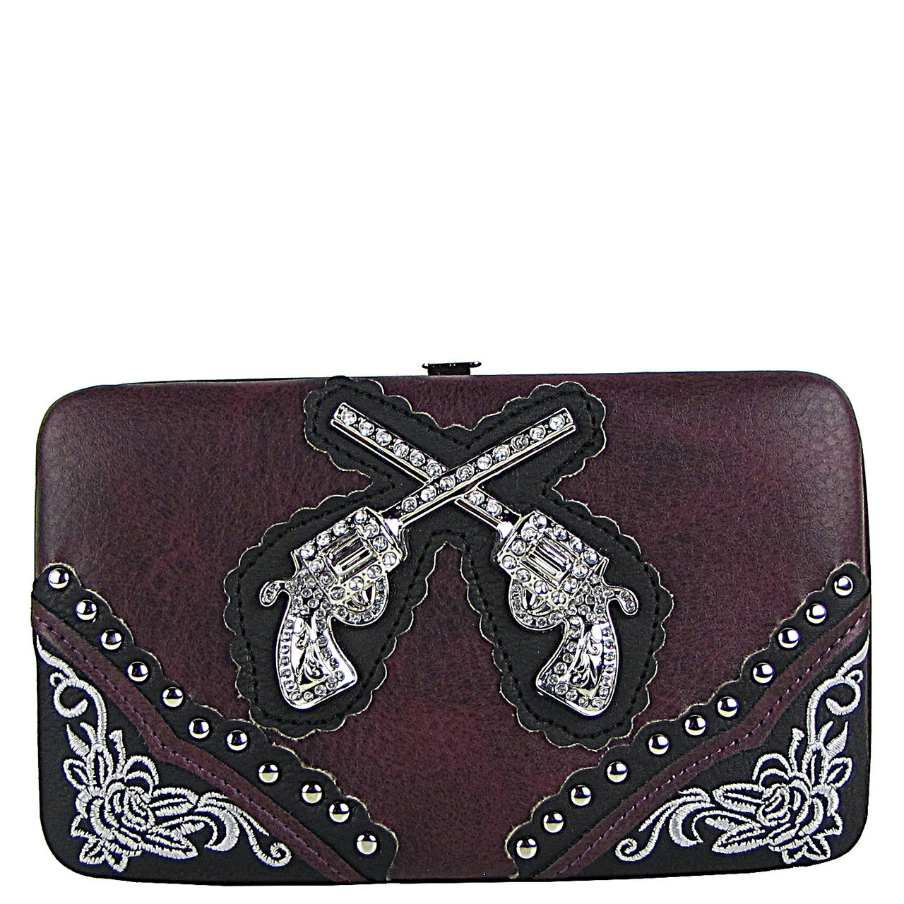 PURPLE WESTERN STITCHED RHINESTONE PISTOLS LOOK FLAT THICK WALLET FW2-1234PPL