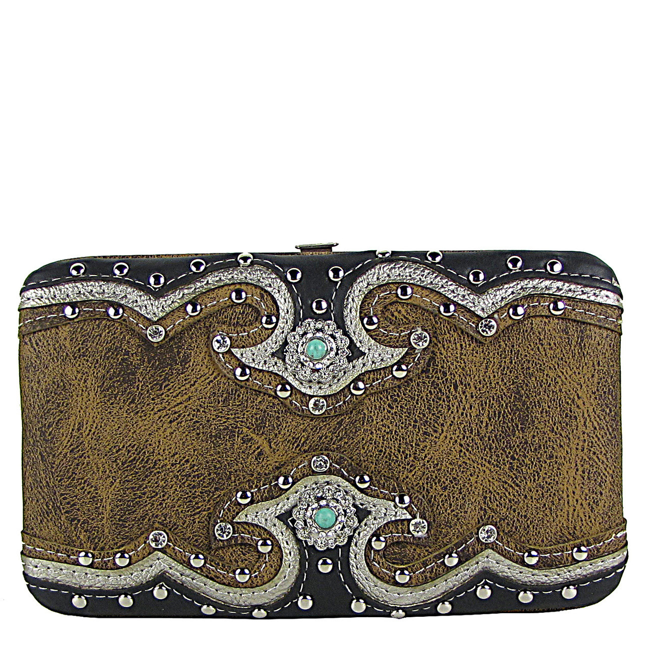BROWN WESTERN STUDDED EMERALD STONE LOOK FLAT THICK WALLET FW2-12111BRN