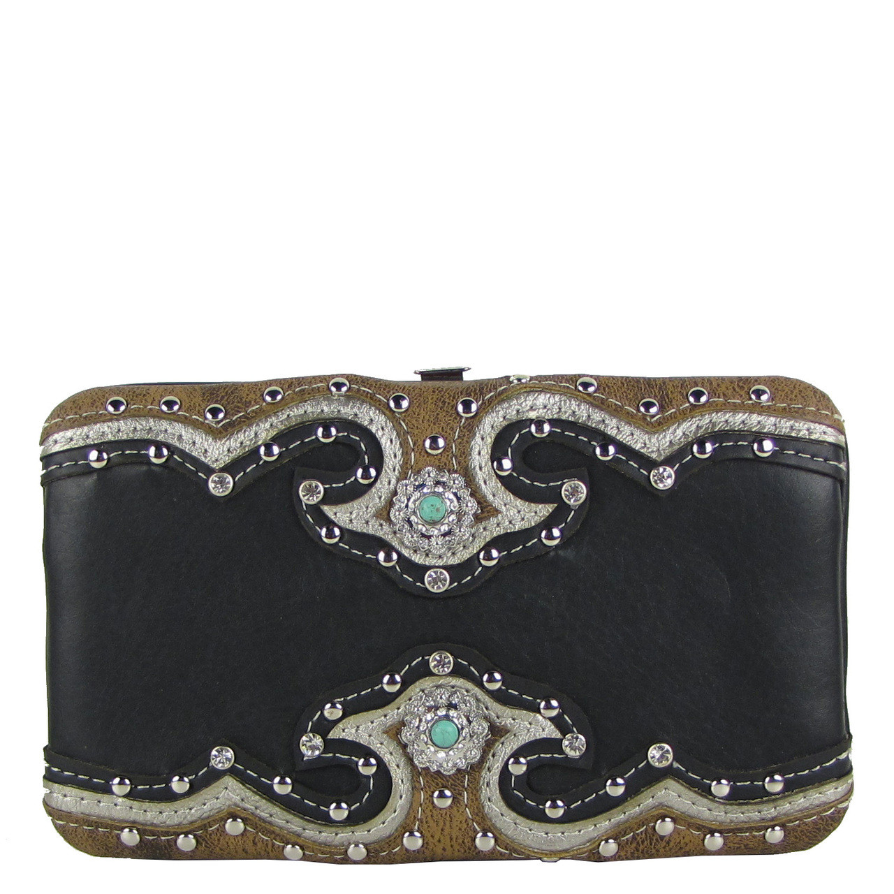 BLACK WESTERN STUDDED EMERALD STONE LOOK FLAT THICK WALLET FW2-12111BLK