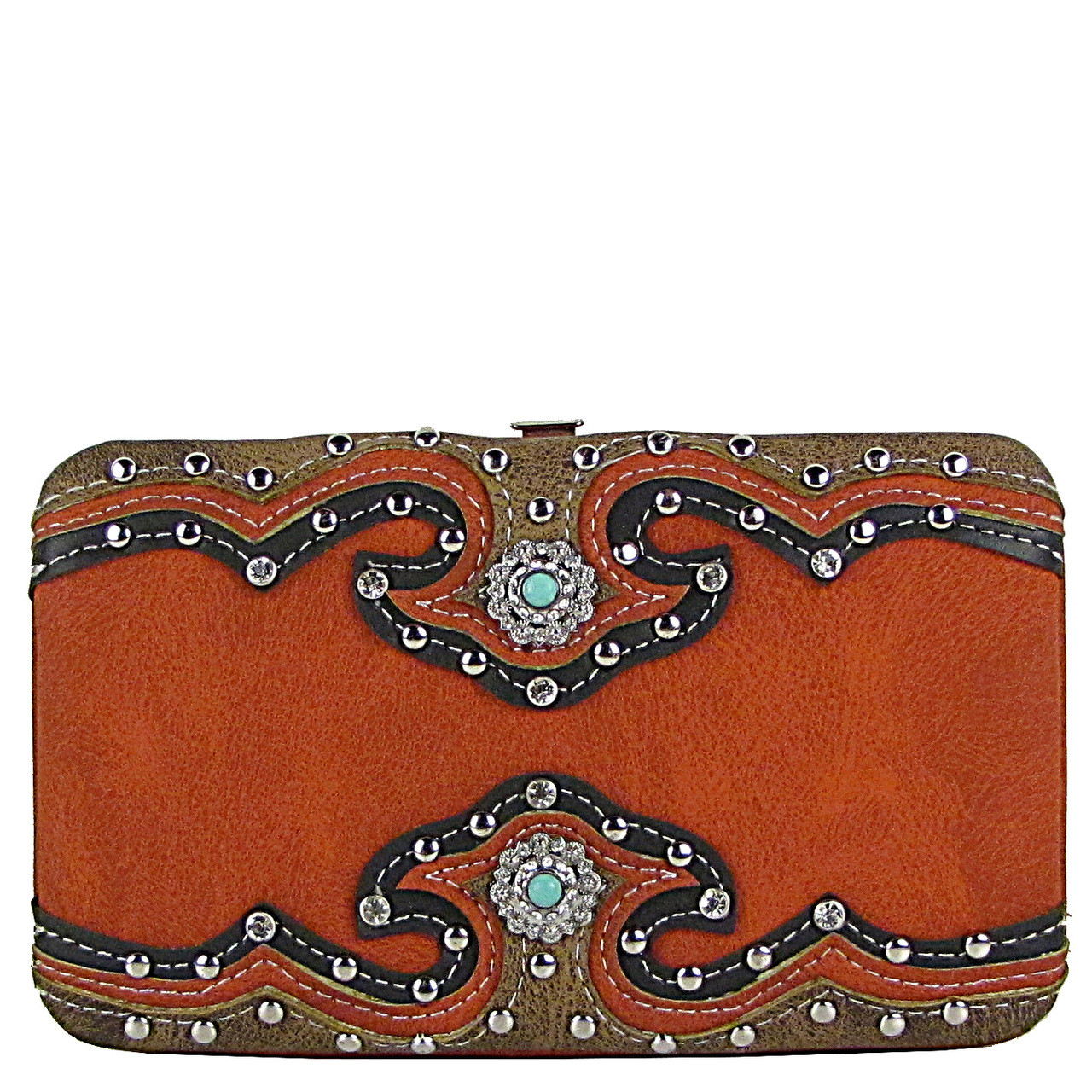 ORANGE WESTERN STUDDED EMERALD STONE LOOK FLAT THICK WALLET FW2-12111ORG