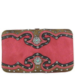 HOT PINK WESTERN STUDDED EMERALD STONE LOOK FLAT THICK WALLET FW2-12111HPK