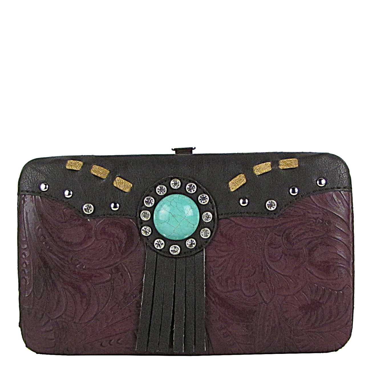 PURPLE WESTERN TOOLED TASSEL LOOK FLAT THICK WALLET FW2-1261PPL