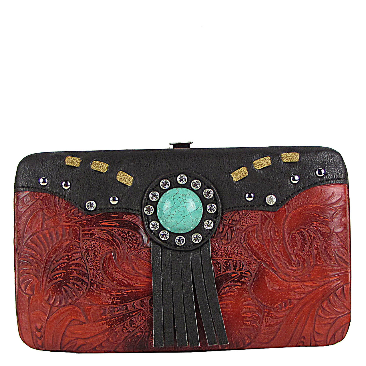 RED WESTERN TOOLED TASSEL LOOK FLAT THICK WALLET FW2-1261RED