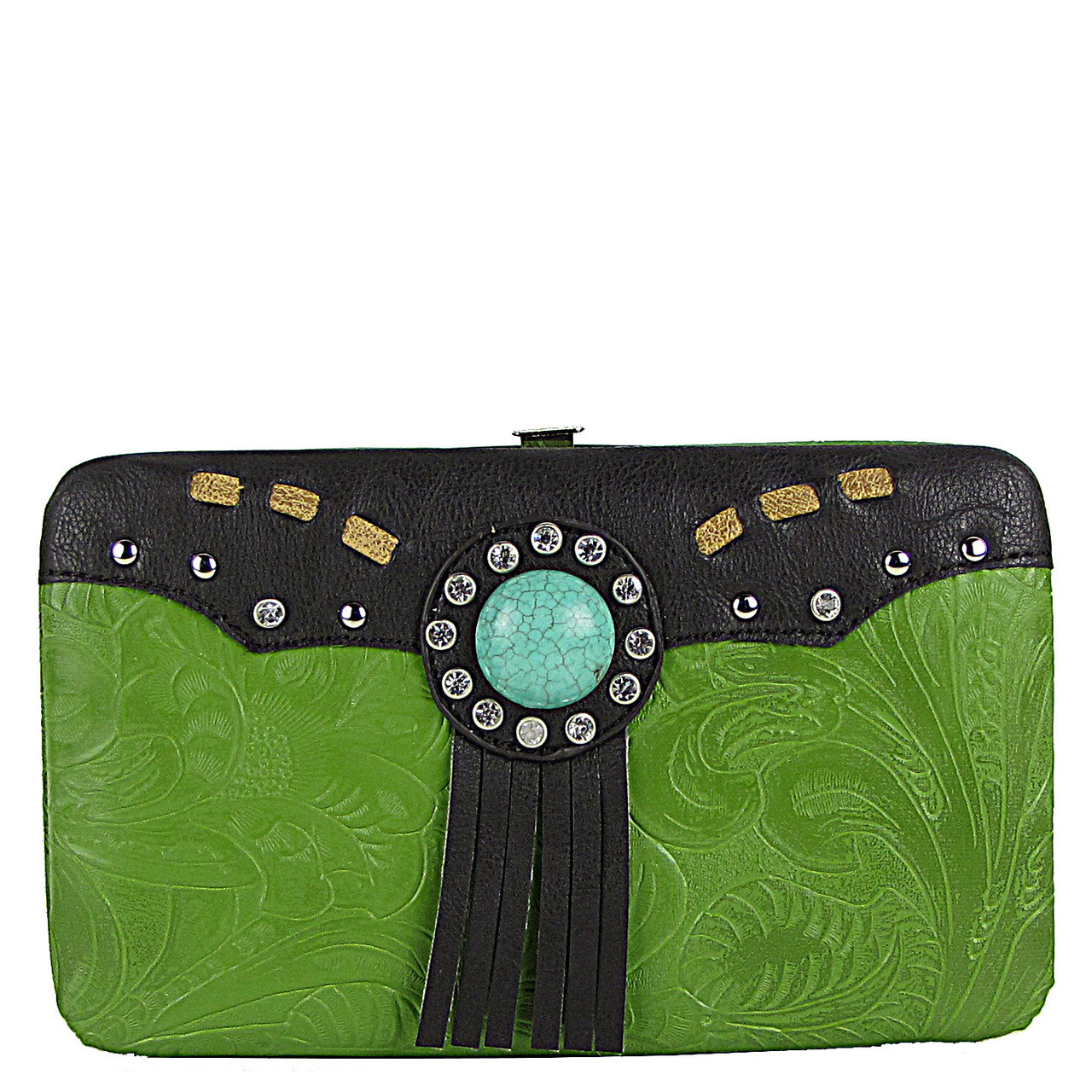 GREEN WESTERN TOOLED TASSEL LOOK FLAT THICK WALLET FW2-1261GRN
