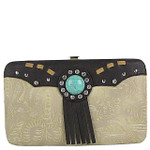 BEIGE WESTERN TOOLED TASSEL LOOK FLAT THICK WALLET FW2-1261BEI