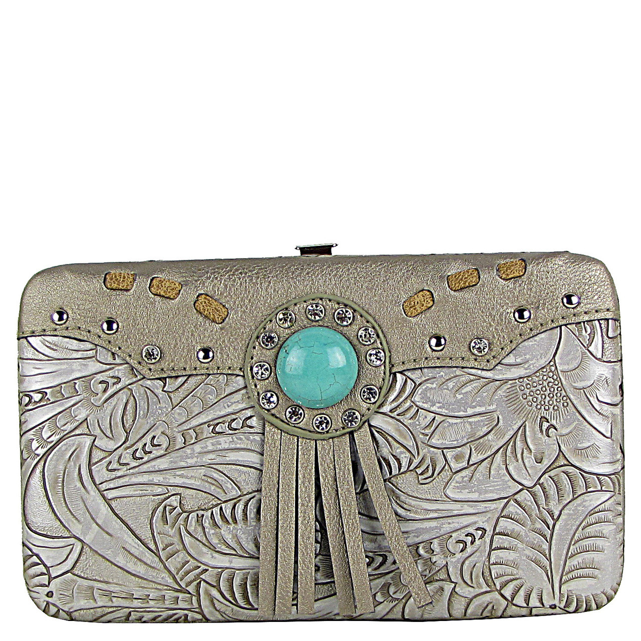 PEWTER WESTERN TOOLED TASSEL LOOK FLAT THICK WALLET FW2-1261PEW