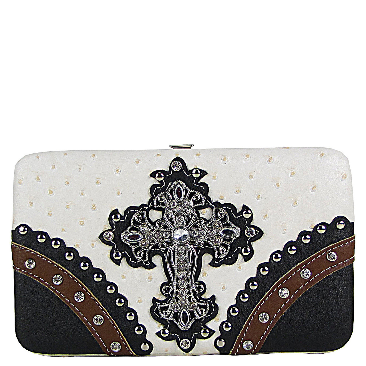 WHITE OSTRICH STUDDED RHINESTONE CROSS FLAT THICK WALLET FW2-04106WHT