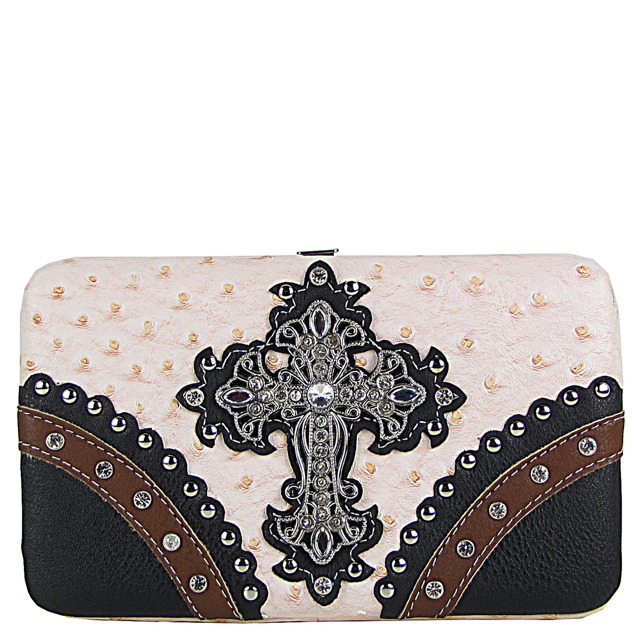 PEACH OSTRICH STUDDED RHINESTONE CROSS FLAT THICK WALLET FW2-04106PCH