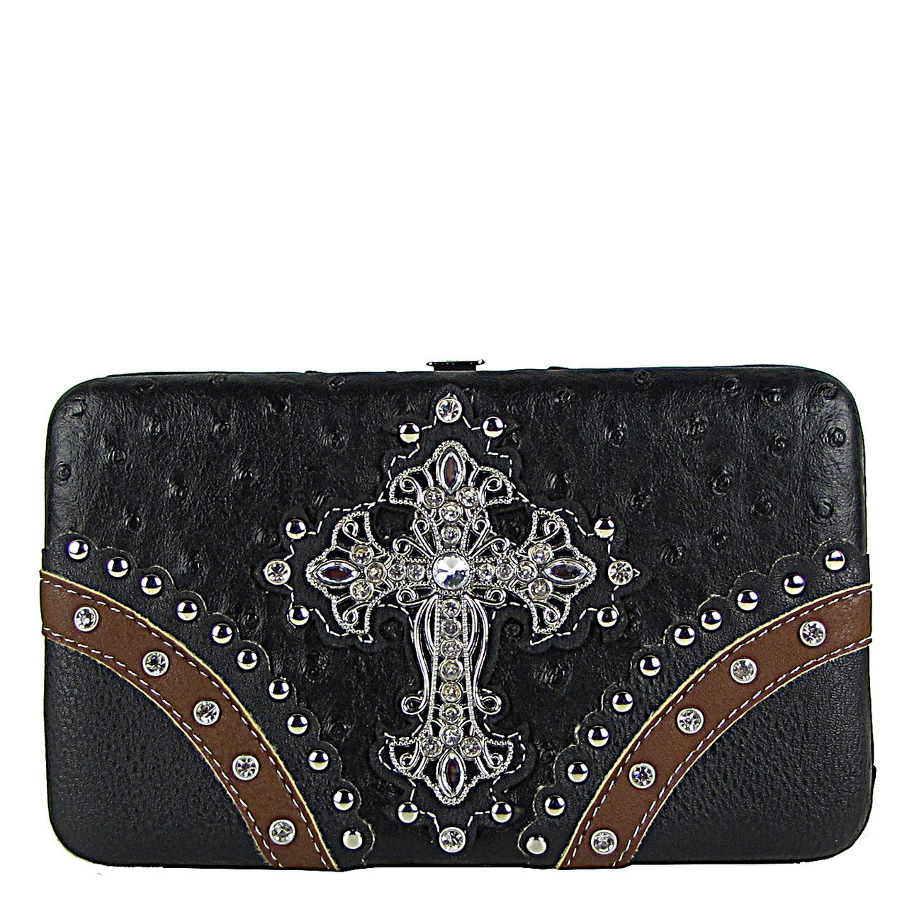 BLACK OSTRICH STUDDED RHINESTONE CROSS FLAT THICK WALLET FW2-04106BLK