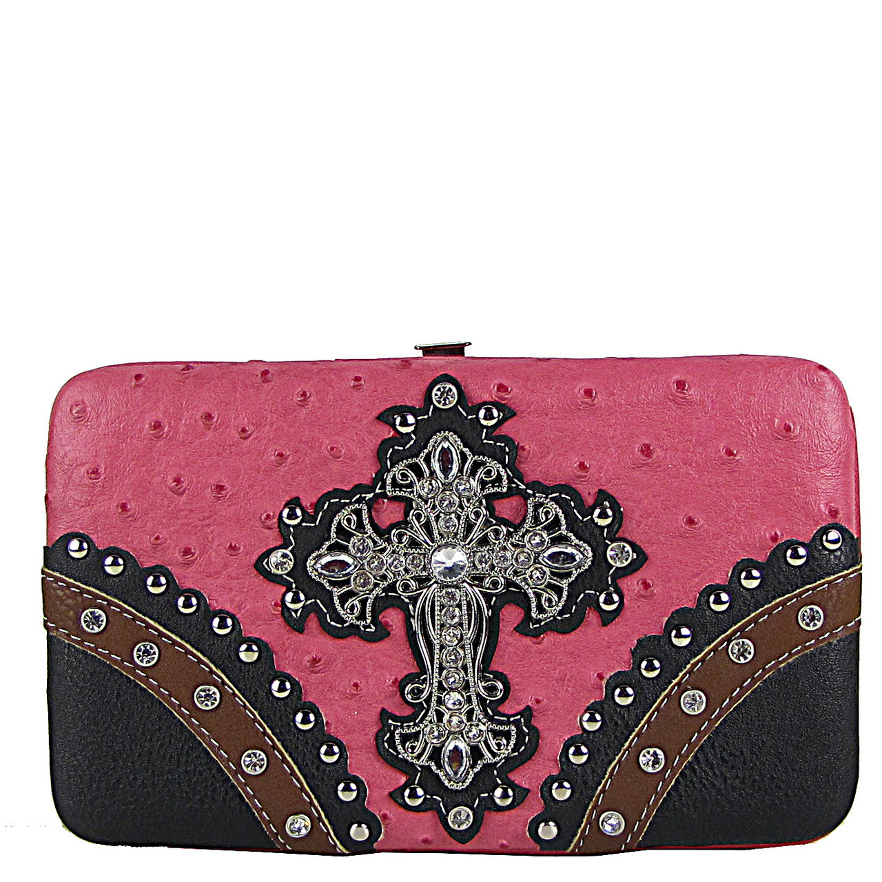 HOT PINK OSTRICH STUDDED RHINESTONE CROSS FLAT THICK WALLET FW2-04106HPK