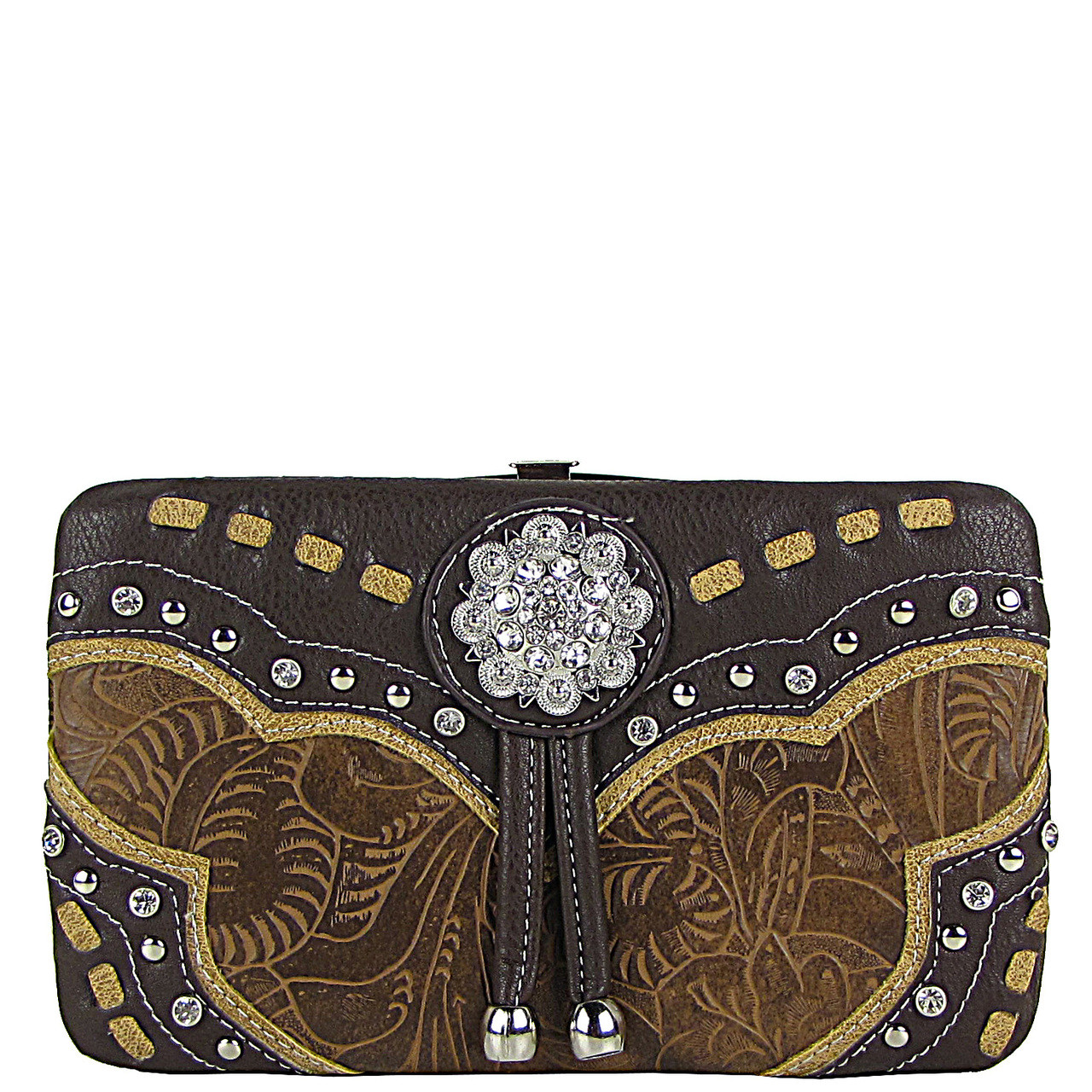 BROWN WESTERN FLOWER RHINESTONE LOOK FLAT WALLET FW2-12100BRN