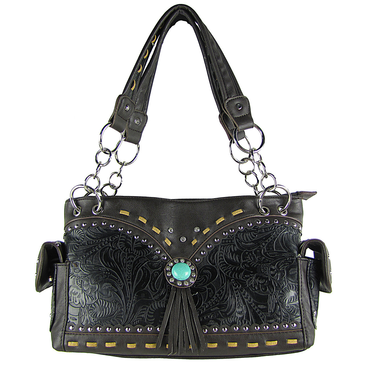 BLACK WESTERN BLUE STONE TOOLED LOOK SHOULDER HANDBAG HB1-39W53BLK