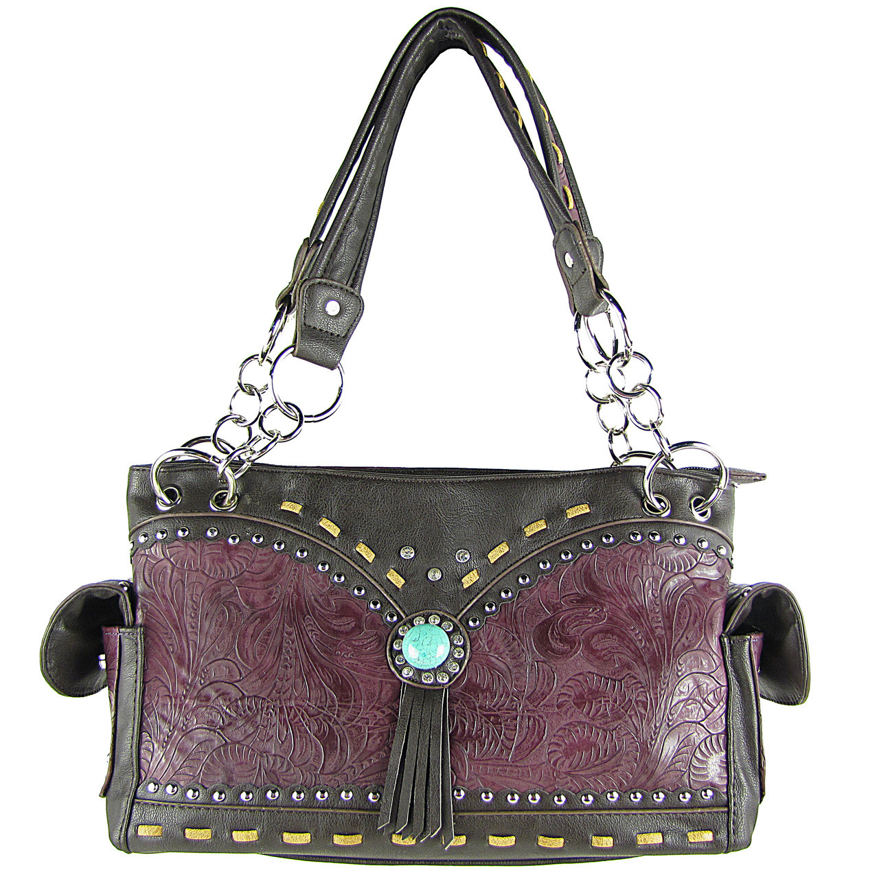 PURPLE WESTERN BLUE STONE TOOLED LOOK SHOULDER HANDBAG HB1-39W53PPL