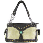BEIGE WESTERN BLUE STONE TOOLED LOOK SHOULDER HANDBAG HB1-39W53BEI