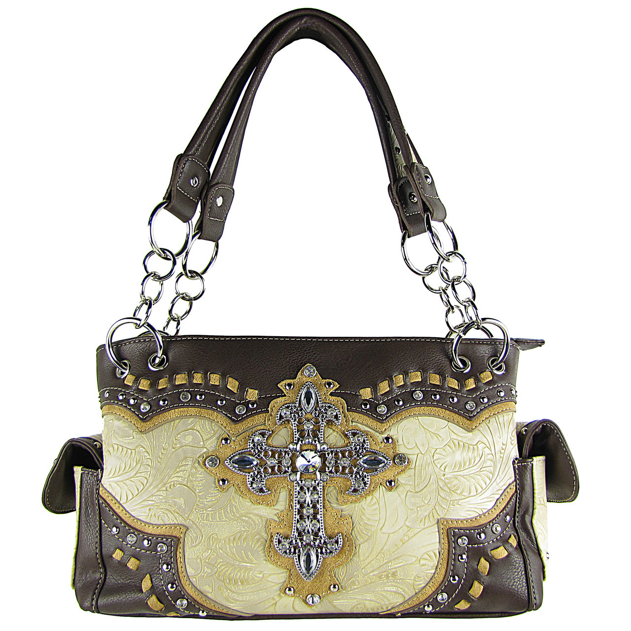 BEIGE WESTERN RHINESTONE CROSS LOOK SHOULDER HANDBAG HB1-34LCRBEI