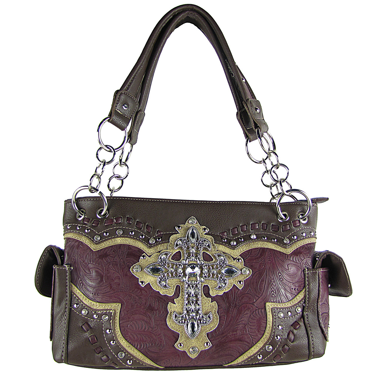 PURPLE WESTERN RHINESTONE CROSS LOOK SHOULDER HANDBAG HB1-34LCRPPL
