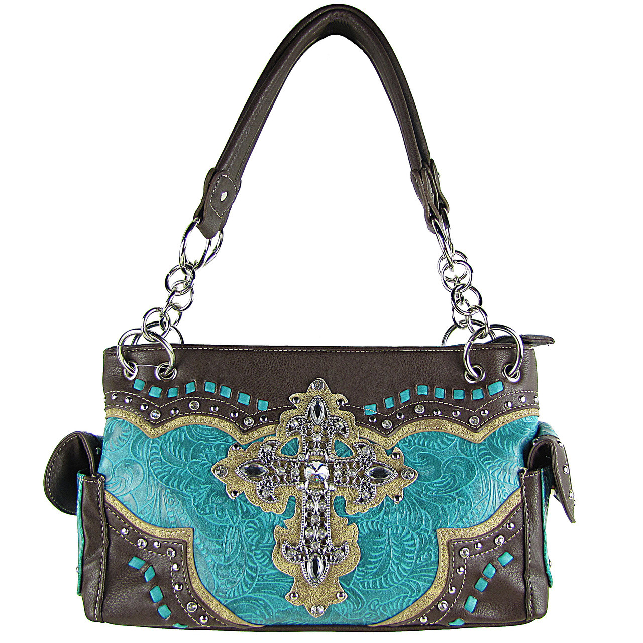 TURQUOISE WESTERN RHINESTONE CROSS LOOK SHOULDER HANDBAG HB1-34LCRTRQ
