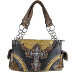 BLACK WESTERN STUDDED RHINESTONE CROSS LOOK SHOULDER HANDBAG HB1-48LCRBLK