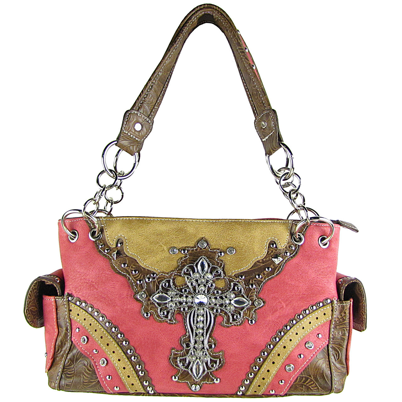 HOT PINK WESTERN STUDDED RHINESTONE CROSS LOOK SHOULDER HANDBAG HB1-48LCRHPK