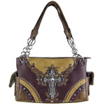PURPLE WESTERN STUDDED RHINESTONE CROSS LOOK SHOULDER HANDBAG HB1-48LCRPPL