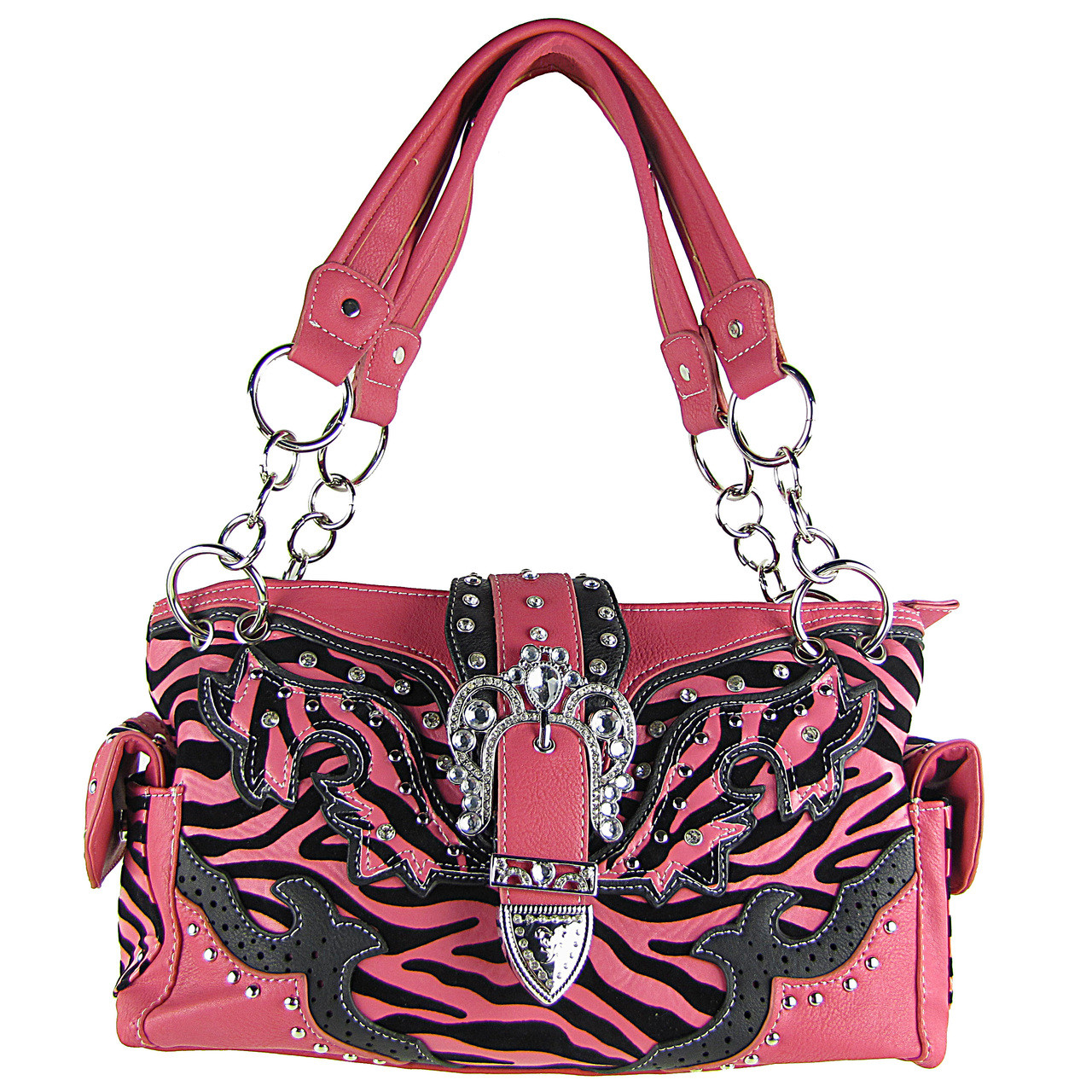 HOT PINK ZEBRA STUDDED RHINESTONE BUCKLE LOOK SHOULDER HANDBAG HB1-W37FZ-1HPK