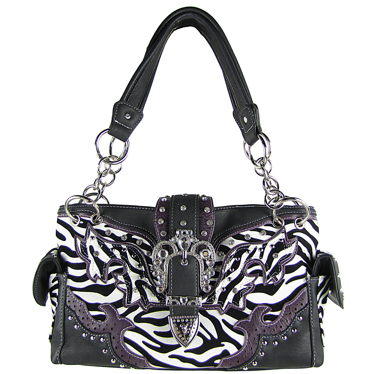 PURPLE ZEBRA STUDDED BUCKLE RHINESTONE LOOK SHOULDER HANDBAG HB1-W37FZPPL