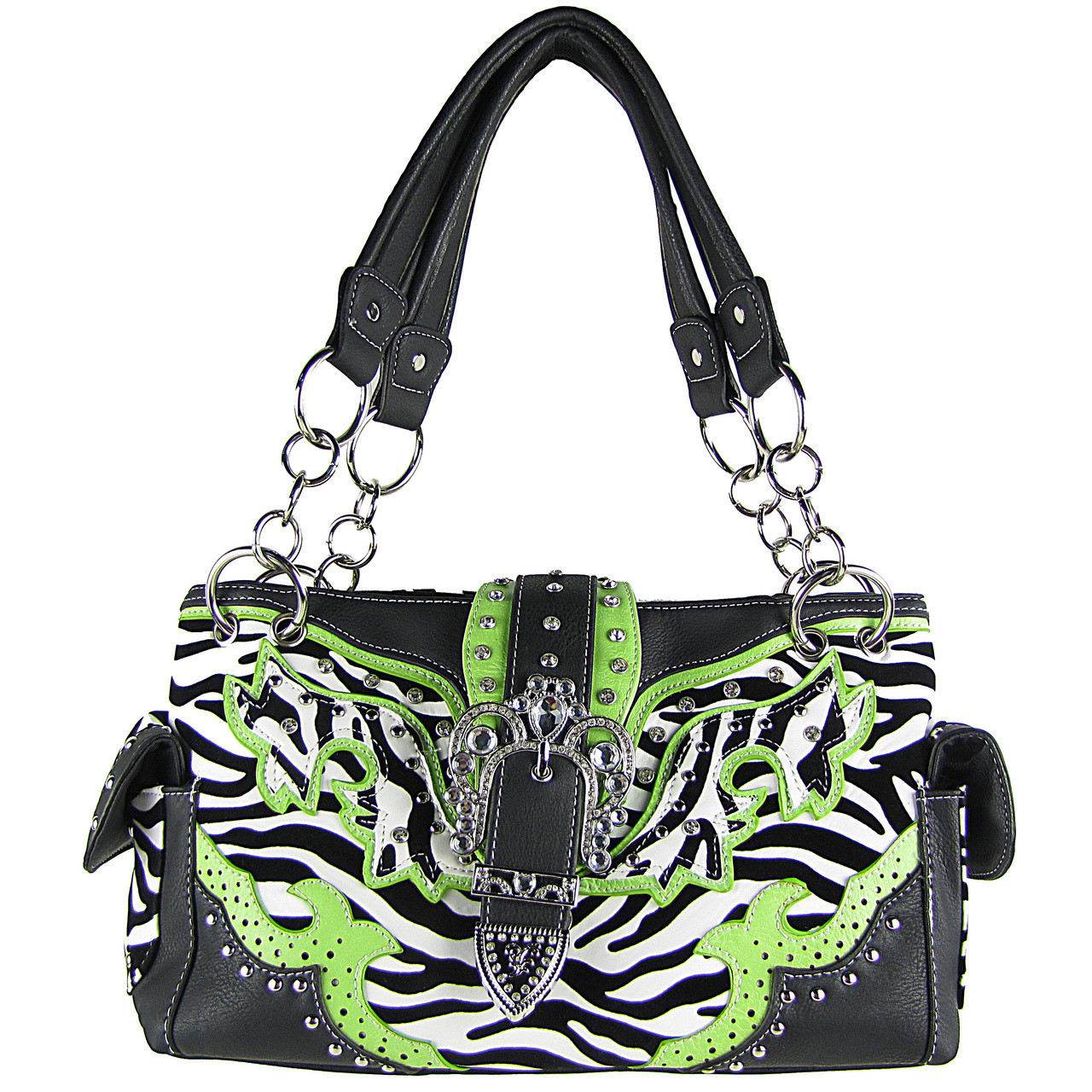 GREEN ZEBRA STUDDED BUCKLE RHINESTONE LOOK SHOULDER HANDBAG HB1-W37FZGRN