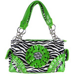 GREEN ZEBRA RHINESTONE FLOWER SHOULDER HANDBAG HB1-W32FZGRN