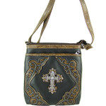 BLACK WESTERN RHINESTONE CROSS LOOK MESSENGER BAG MB1-M42LCRBLK