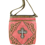 HOT PINK WESTERN RHINESTONE CROSS LOOK MESSENGER BAG MB1-M42LCRHPK
