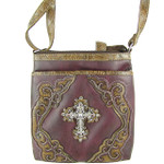 PURPLE WESTERN RHINESTONE CROSS LOOK MESSENGER BAG MB1-M42LCRPPL