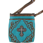 TURQUOISE WESTERN RHINESTONE CROSS LOOK MESSENGER BAG MB1-M42LCRTRQ