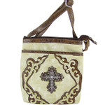 BEIGE WESTERN RHINESTONE CROSS LOOK MESSENGER BAG MB1-M42LCRBEI