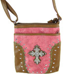 HOT PINK STUDDED RHINESTONE CROSS WESTERN  LOOK MESSENGER BAG MB1-M35LCRHPK