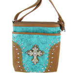 TURQUOISE STUDDED RHINESTONE CROSS WESTERN  LOOK MESSENGER BAG MB1-M35LCRTRQ