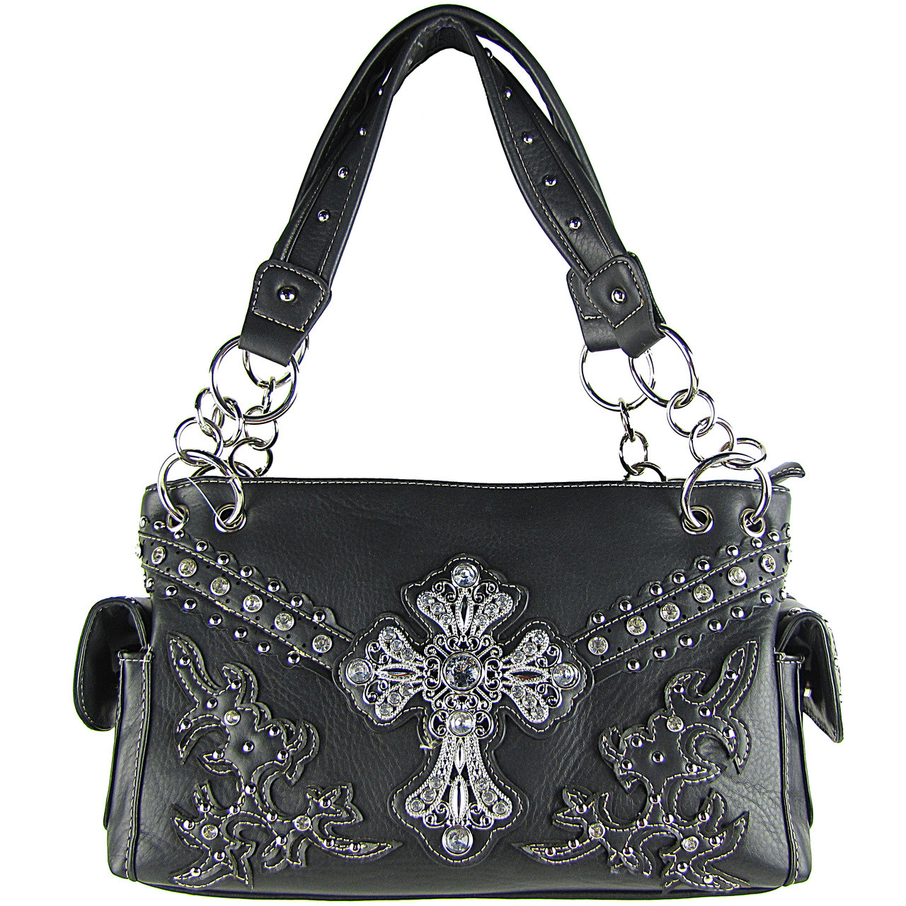 BLACK STUDDED RHINESTONE CROSS LOOK SHOULDER HANDBAG HB1-72LCRBLK