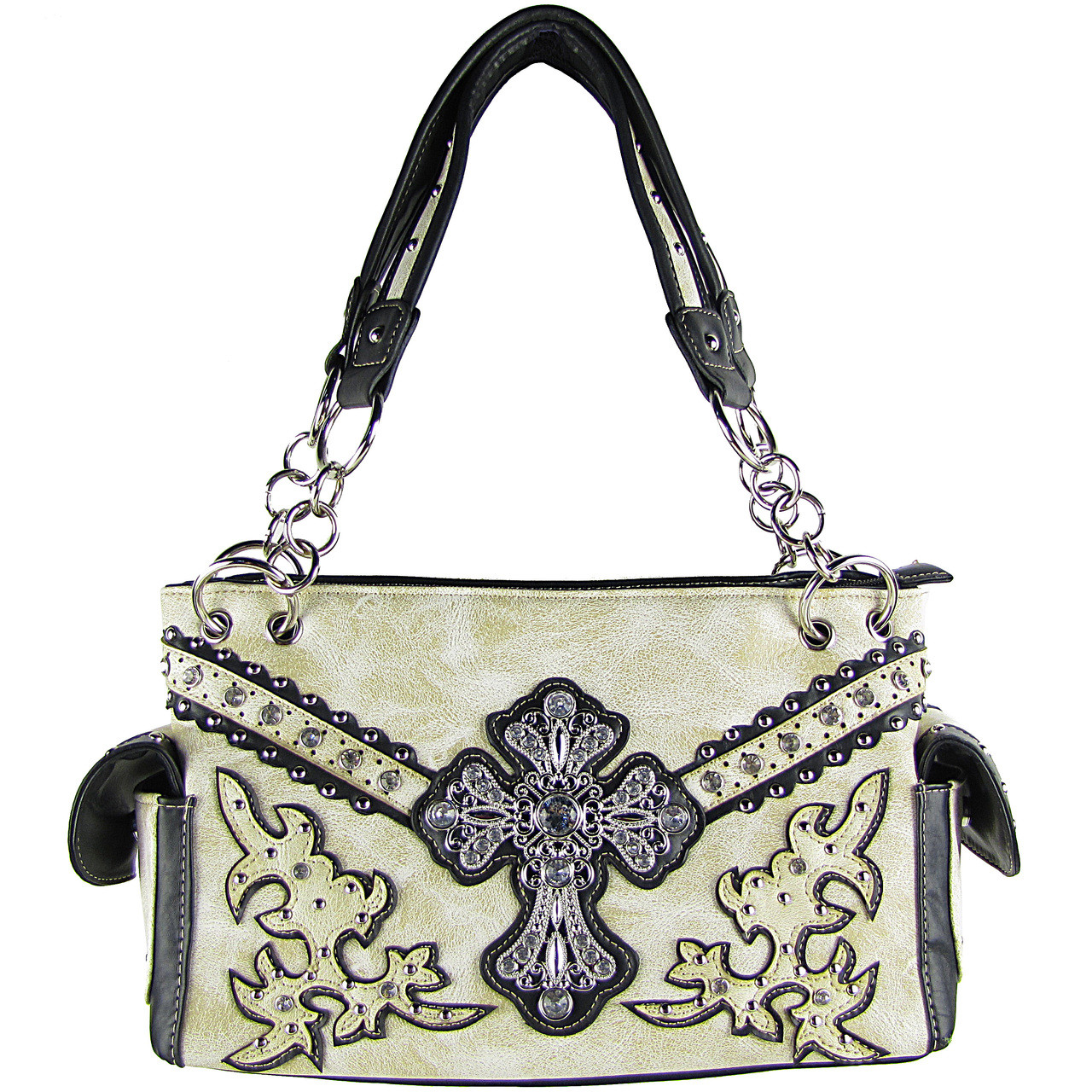 BEIGE STUDDED RHINESTONE CROSS LOOK SHOULDER HANDBAG HB1-72LCRBEI