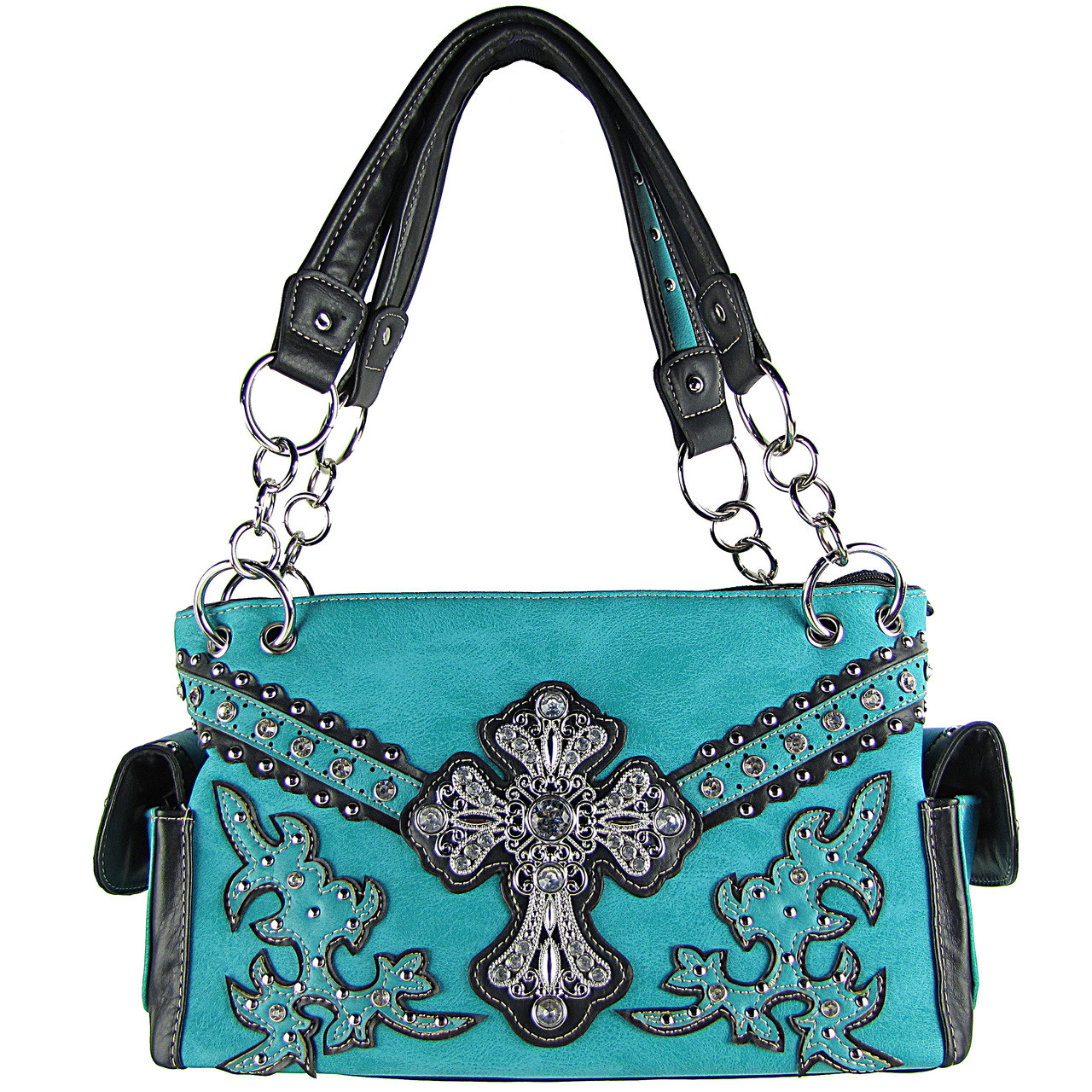 TURQUOISE STUDDED RHINESTONE CROSS LOOK SHOULDER HANDBAG HB1-72LCRTRQ