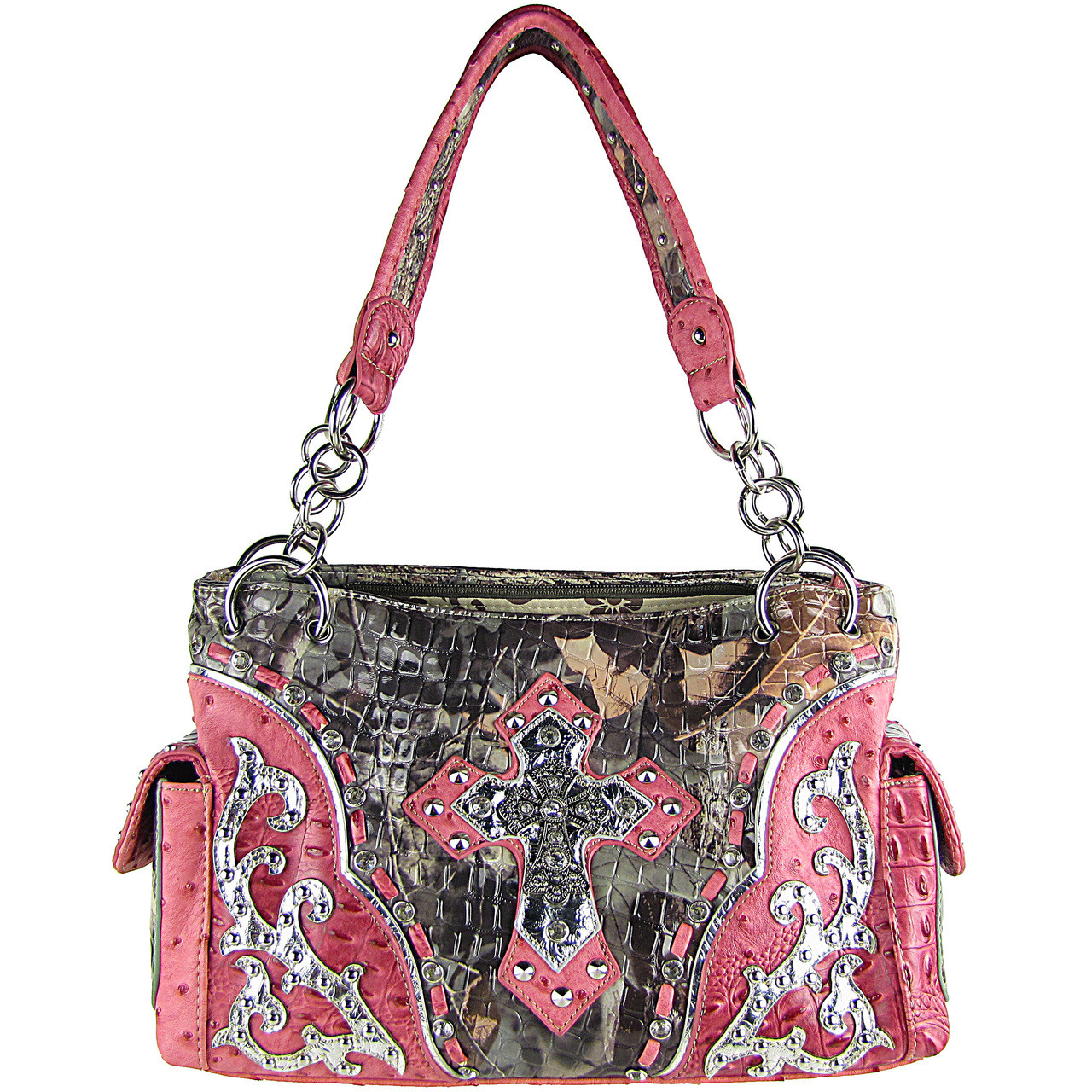 HOT PINK WESTERN STUDDED RHINESTONE MOSSY CAMO METALLIC CROSS LOOK SHOULDER HANDBAG HB1-HC402-10HPK