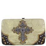 BEIGE TOOLED WESTERN RHINESTONE CROSS LOOK FLAT THICK WALLET FW2-0438BEI