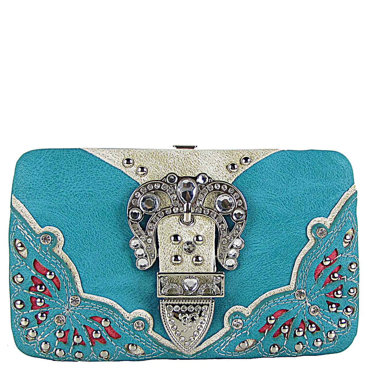 TURQUOISE RHINESTONE BUCKLE WESTERN FLAT THICK WALLET FW2-12114TRQ