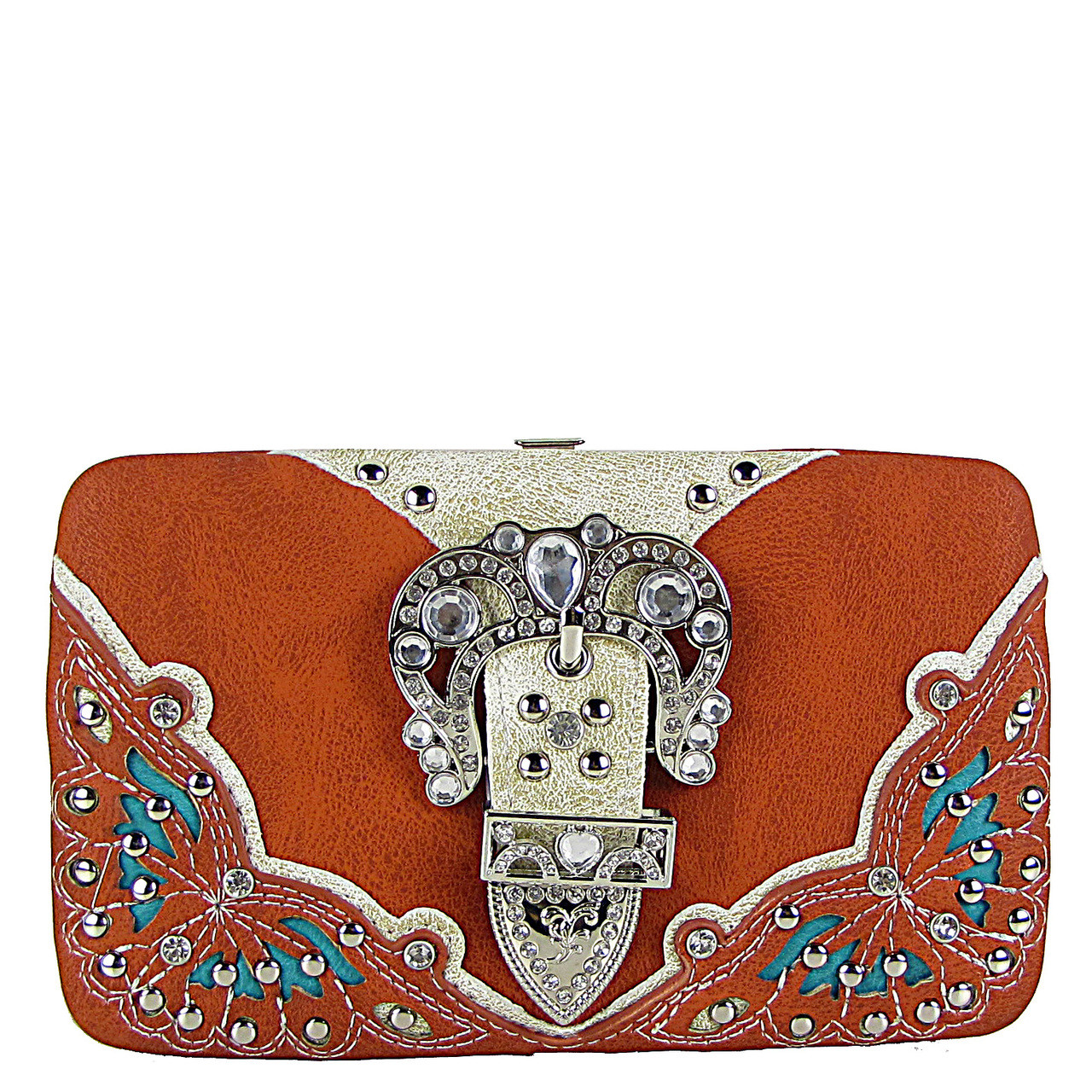 ORANGE RHINESTONE BUCKLE WESTERN FLAT THICK WALLET FW2-12114ORG
