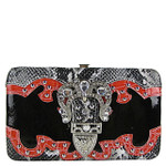 BLACK METALLIC RHINESTONE BUCKLE LOOK FLAT THICK WALLET FW2-1221BHP
