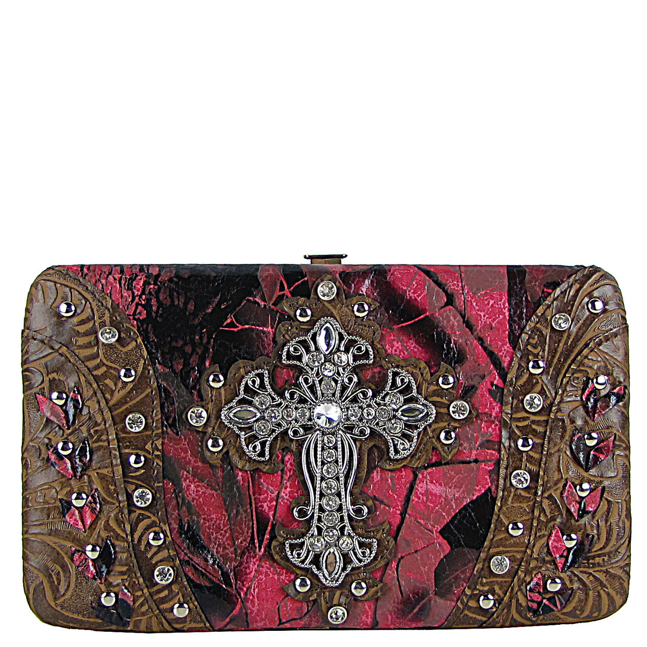 BROWN STUDDED CAMO CROSS FLAT THICK WALLET FW2-04117BRN