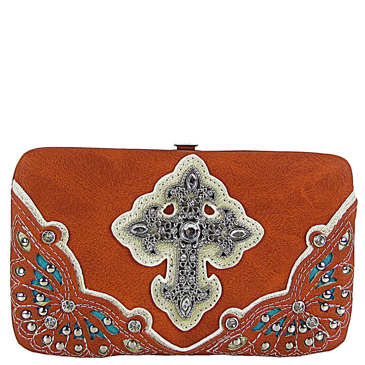 ORANGE RHINESTONE CROSS WESTERN FLAT THICK WALLET FW2-04116ORG