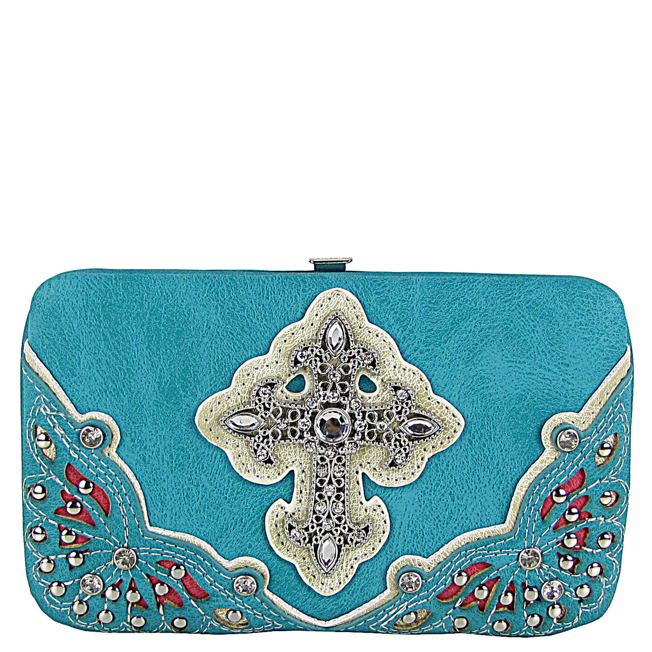 TURQUOISE RHINESTONE CROSS WESTERN FLAT THICK WALLET FW2-04116TRQ