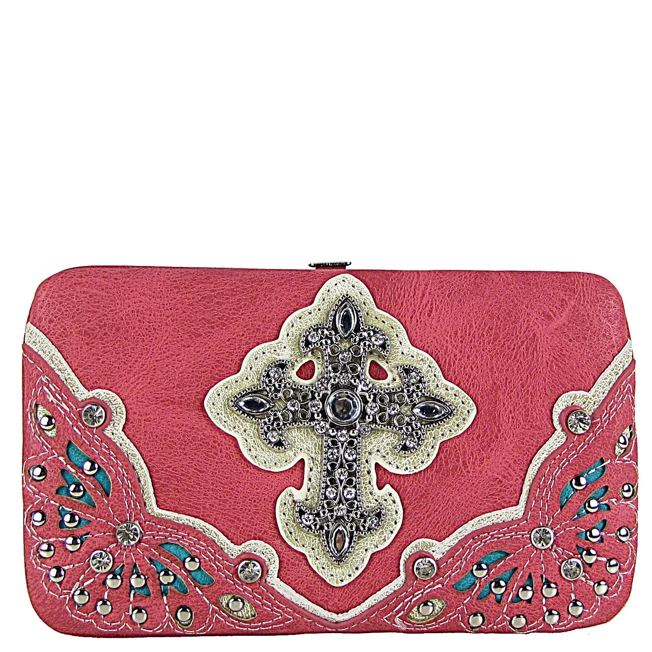 HOT PINK RHINESTONE CROSS WESTERN FLAT THICK WALLET FW2-04116HPK