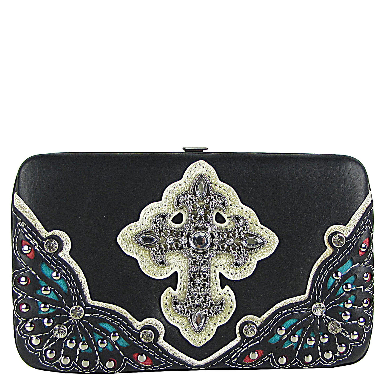 BLACK RHINESTONE CROSS WESTERN FLAT THICK WALLET FW2-04116BLK
