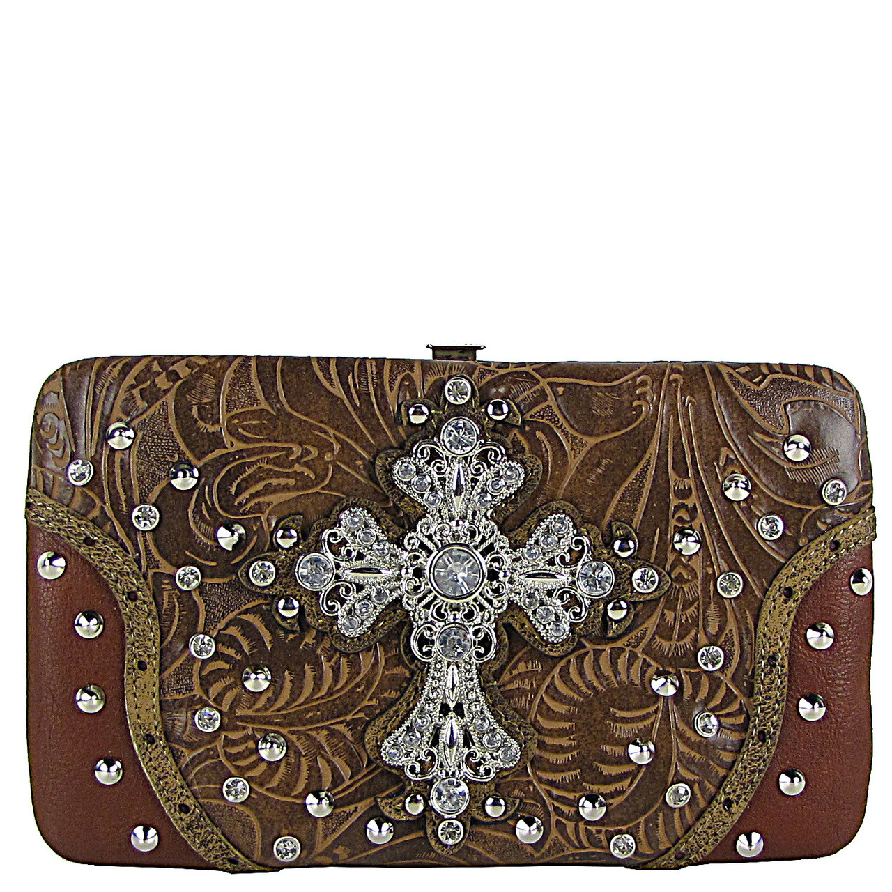 BROWN RHINESTONE STUDDED CROSS FLAT THICK WALLET FW2-04115BRN